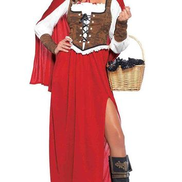 Into The Woods Red Faux Leather Long Sleeve Lace Up Ruffle Side Slit Hood Maxi Dress Halloween Costume