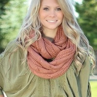Dusty Rose Cable Knit Infinity Scarf