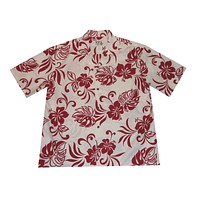 KY's Mens White Mens Button Down Hawaiian Shirt with Red Hibiscus