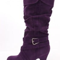 Purple Faux Suede Mid-Calf Boots Boots Catalog:women's winter boots,leather thigh high boots,black platform knee high boots,over the knee boots,Go Go boots,cowgirl boots,gladiator boots,womens dress boots,skirt boots,pink boots,fashion boots
