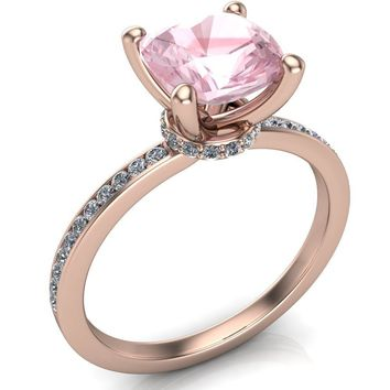 Portia 7mm x 7mm AAA Natural Cushion Morganite Diamond Collar and Shoulders Design 14k Rose Gold Ring