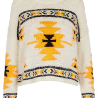 Knitted Hairy Aztec Jumper - Knitwear - Clothing - Topshop