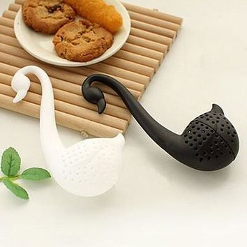 Cute Swan Spoon Infuser Teaspoon Filter Tea Strainer Nolvety Tea Balls Plastic Tea Tools 6 x 13cm