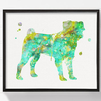 Green Pug, Pug Art Print, Pug Poster, Watercolor Pug Painting, Dog Wall Art, Dog Art Print, Dog Poster, Kids Room Decor, Dog Room Decor
