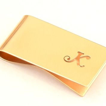 Bronze Money Clip Personalized with Hand cut Calligraphy inspired Initial – Perpendicular to Length Orientation