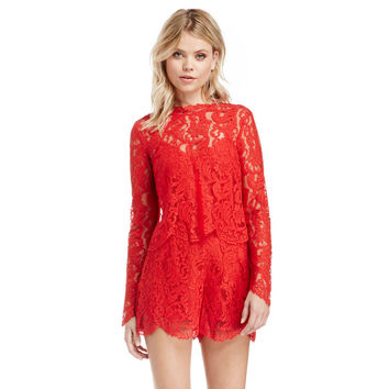 Red Lace Covered Shorts