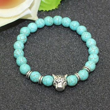 8mm Natural Turquoise Stone Beads Bracelet for Women,Antique Silver and Gold Lion/Buddha/Leopard/Skull Bracelets Mens Jewelry vintagesilver leopar
