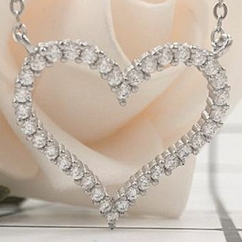 TIFFANY sterling silver necklace women s heart clavicle chain simple  diamond zircon heart-shaped pendant T fa6c492202