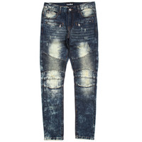 Azure Biker Denim Jeans Blue Bleach Wash