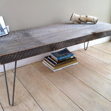 "Weathered barnwood coffee table, modern rustic style featuring hairpin legs, 20"" x 48""."