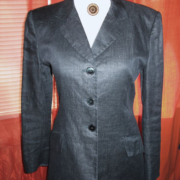 Amaizing Vintage JONES New YORK Boyfriend's Jacket With Pockets Blue Denim Lined Size 10 Made in USA