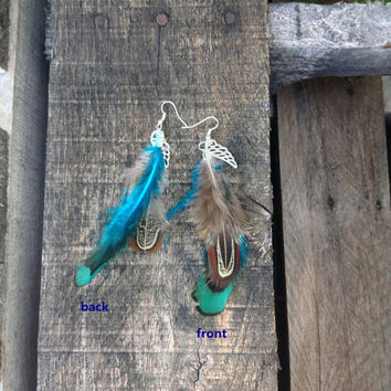 Turquoise Peacock Pheasant Feather Earrings Angel Wing Jewelry Cherokee Inspired Tribal Boho Belly Dancer and Hippie Style