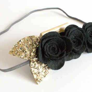 Black flower crown - black rose crown - black rose headband - rose crown - flower headband - gothic - alternative bride crown