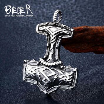 Beier Punk 316L stainless steel Norse Vikings Pendant Necklace Norse Viking Totem Original Amulet Jewelry for man gift BP8-378