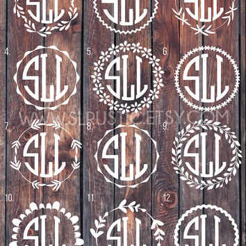 Monogram decal, Monogram sticker, circle monogram, greek letters monogram, yeti cooler monogram decal, laptop decal, car decal.