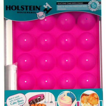 Holstein Housewares Silicone Cake Bites Stand Lot 2 Tray 40 Sticks Pink Base