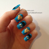 Japanese 3D cookie monster & heart cookie artificial nails