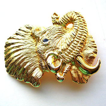 Vintage Elephant Buckle - Trunk up - Good Luck Elephant Belt Buckle - Designer Signed Dotti Smith