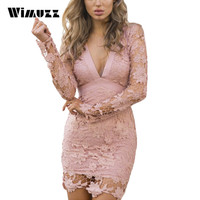 Wimuzz Women Long Sleeve Lace Dress Sexy Backless Evening Party Elegant Short Dress Bow Deep V Neck Pink Dress