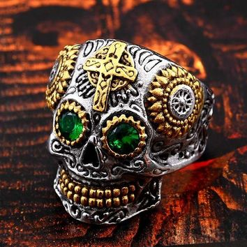 Stainless Steel Gothic gold Carving skull mask Ring