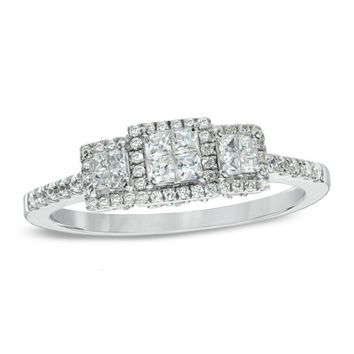 1/2 CT. T.W. Princess-Cut Quad Diamond Past Present Future® Ring in 10K White Gold