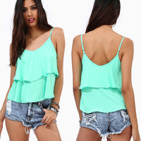 'The Jacinda' Candy Color Layered Chiffon Cami
