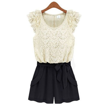 Women Summer Dress 2015 Plus Size Slim Siamese Lace Shorts Dress Vestidos Clothing PE3422*50