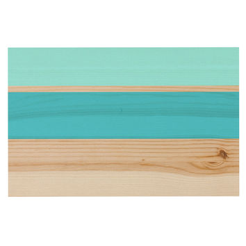 "KESS Original ""Spring Swatch - Blue Green"" Teal Wood Decorative Door Mat"