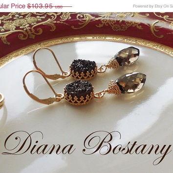 VALENTINE SALE Chocolate Druzy Smokey Quartz Earrings, Dangle Earrings, Briolette Earrings, Gold Earrings, Limited Ed