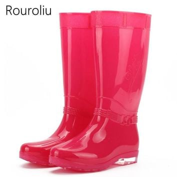 New 2017 Women Fashion Candy Colors High Rain Boots Flat Heels PVC Rainboots Woman Wat