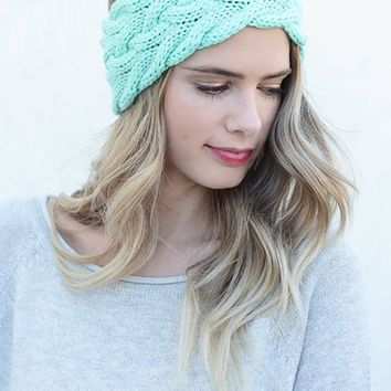 Braided Cable Knit Headband (Mint)