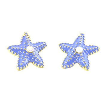 Starfish Stud Earrings Purple Enamel Crystal Posts EI18 Fashion Jewelry