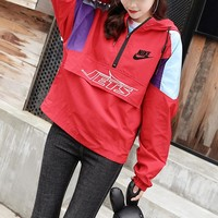 """""""Nike"""" Women Loose Casual Personality Multicolor Letter Long Sleeve Zip Hooded Sweater Pullover Baseball Uniform Tops Coat"""