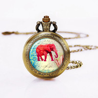 Red Elephant -Pocket Watch Necklace, Vintage Bronzen Watch-Elephant Charm Pendant,Gifts for Girls
