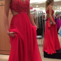 Red Lace Evening Dress Backless Spaghetti Strap Prom Dress