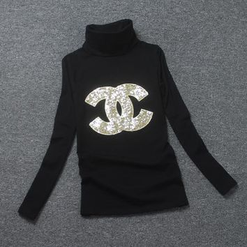 Chanel Fashion High-Necked Sequins Long Sleeve Shirt Top Tee