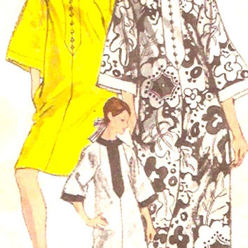 Boho caftan dress pattern 60s Casual retro Summer hippie Hipster Vintage sewing pattern Vogue 7295 Medium Bust 34 to 36 UNCUT
