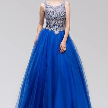 Cut-Out Back Embroidered Quinceanera Dress Royal Blue