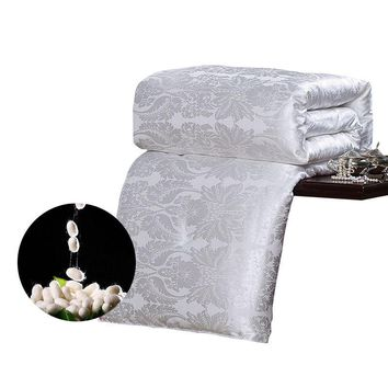 CARACARLE Silk Comforter White Qualified Duvet Mulberry Silk Satin Jacquard Quilt Full Queen King Size Chinese silk SOFT bedding