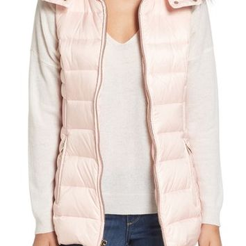 kate spade new york down vest with faux fur trim | Nordstrom
