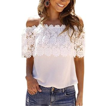 2017 Europe America t-shirt women new slash neck lace stitching lace halter T shirt hot models tops clothing vestidos YFF6119