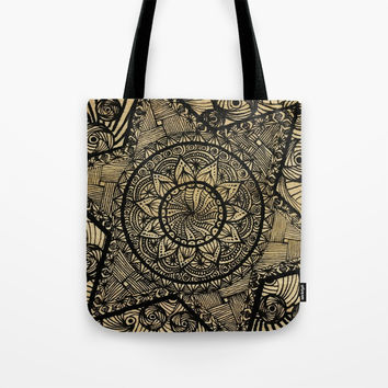 Star Zentangle in wood Tote Bag by Shashira Handmaker