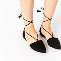 ASOS LIFT OFF Lace Up Ballet Flats