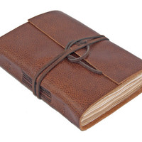 Brown Leather Journal with Tea Stained Paper
