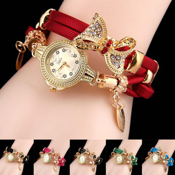 Bow pendant bracelet watch casual retro fashion ladies watch quartz watch