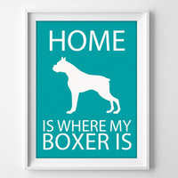 "8x10"" Boxer Wall Art, Illustrated Dog Art, Boxer Decor, Dog Breed Wall Art, Boxer Dog Lover, Puppy Wall Art Print, Boxer Pet Gift"