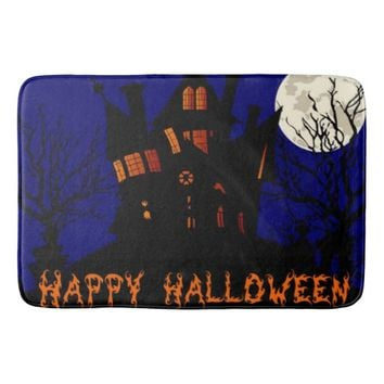 Happy Halloween Haunted House Bath Mat