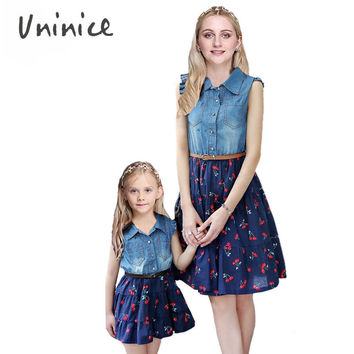 summer sleeveless denim Dresses Cherry printed family look matching mother daughter clothes dress family matching outfits