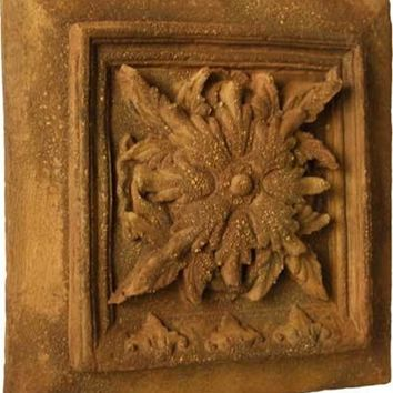 Seville Leaf Emblem in Square Spanish Wall Relief 13H - 7353
