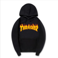 """""""Thrasher""""New flame thickening hoodies sweater no line Black"""